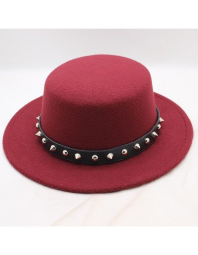 BING YUAN HAO XUAN Red Wine Wool Wide Brim Bowler Trilby Fedora Hat for Women Plain Flat Lady Felt Hats Vintage European US